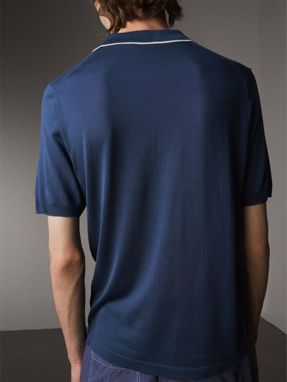 Tipped Detail Knitted Silk Polo Shirt in Steel Blue - Men | Burberry - cell image 2