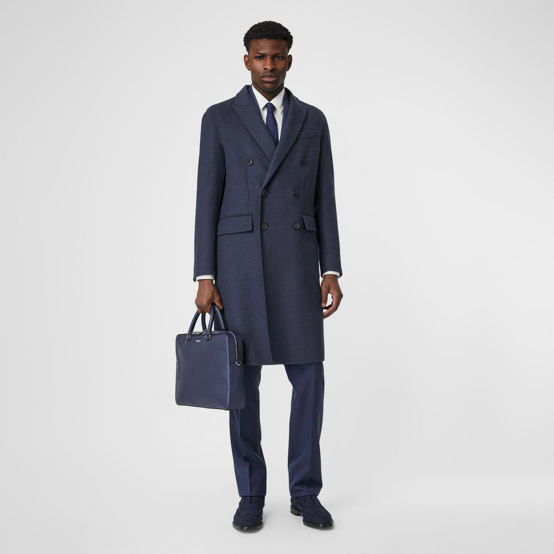 Grainy Leather Briefcase in Regency Blue - Men | Burberry - gallery image 5