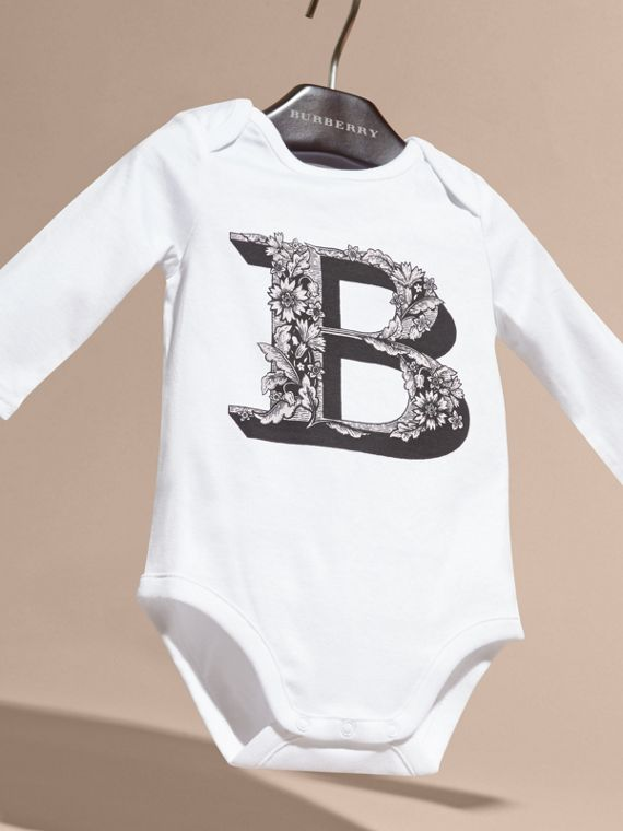 Pale ash rose Decorative Letter Motif Long-sleeved Cotton Bodysuit Pale Ash Rose - cell image 2