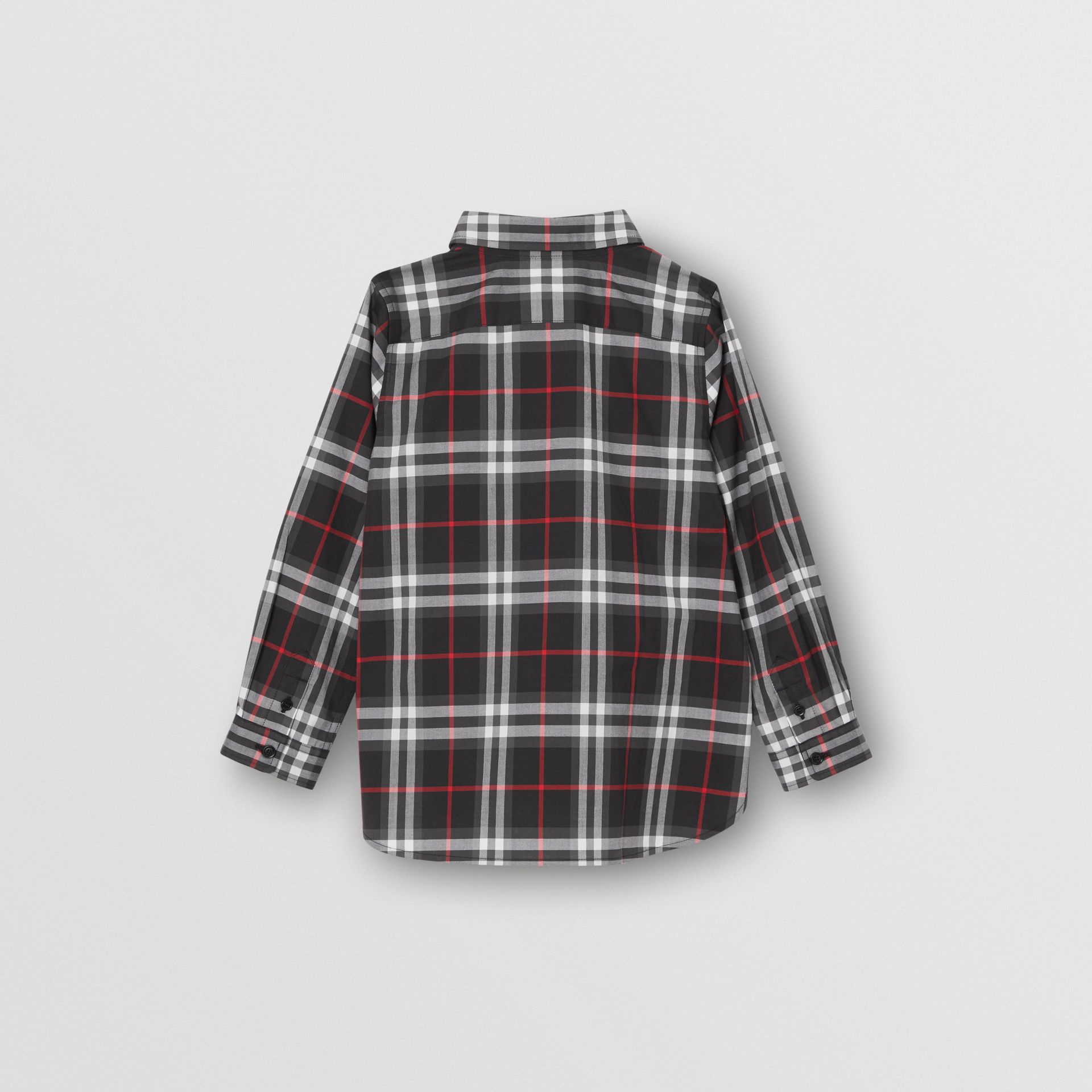 Vintage Check Cotton Shirt in Black | Burberry United Kingdom - gallery image 3