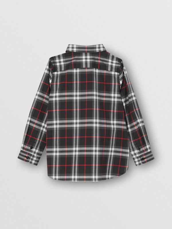 Vintage Check Cotton Shirt in Black | Burberry - cell image 3