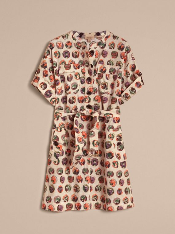 Pallas Heads Print Stretch Cotton Shirt Dress - cell image 3