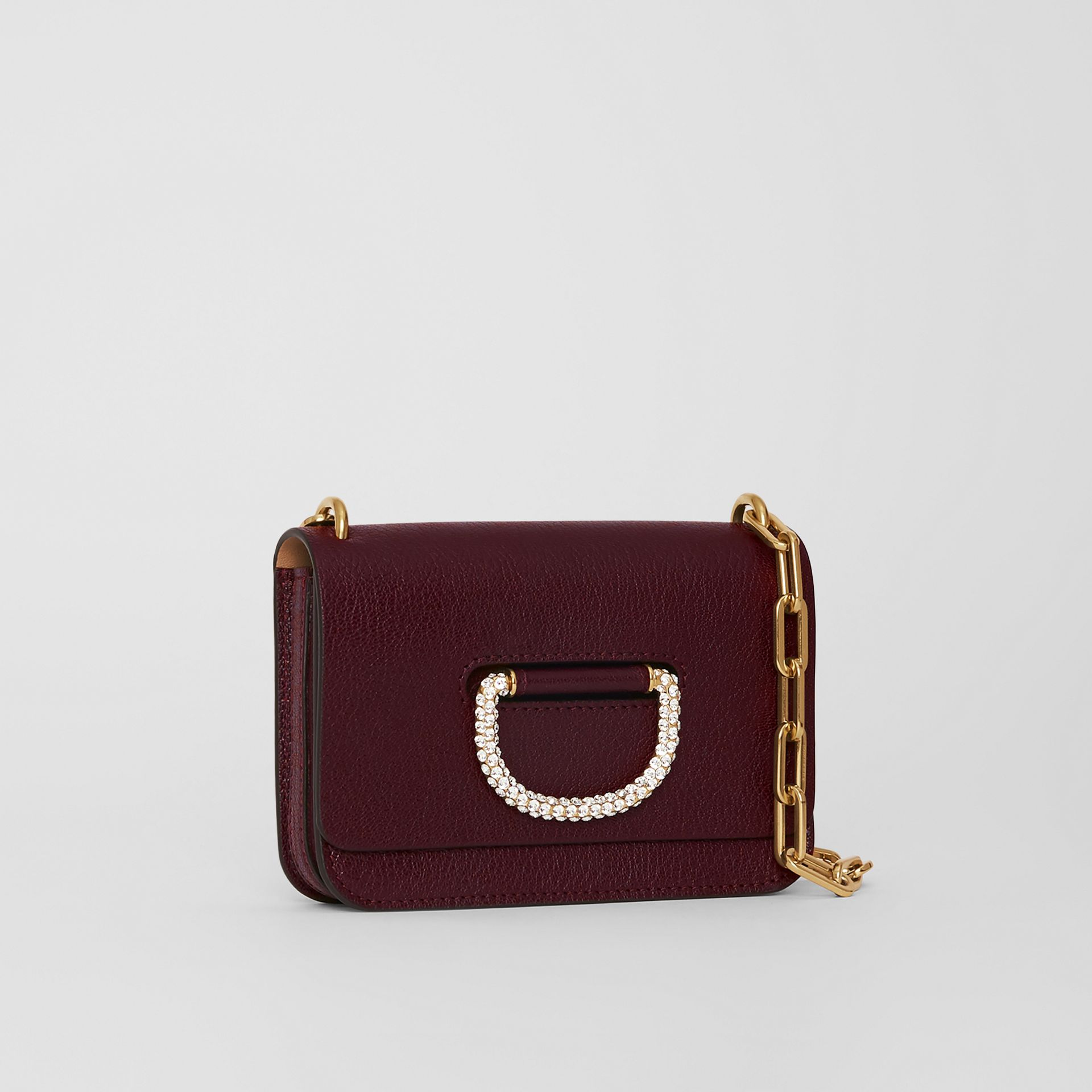 The Mini Leather Crystal D-ring Bag in Deep Claret - Women | Burberry Singapore - gallery image 4