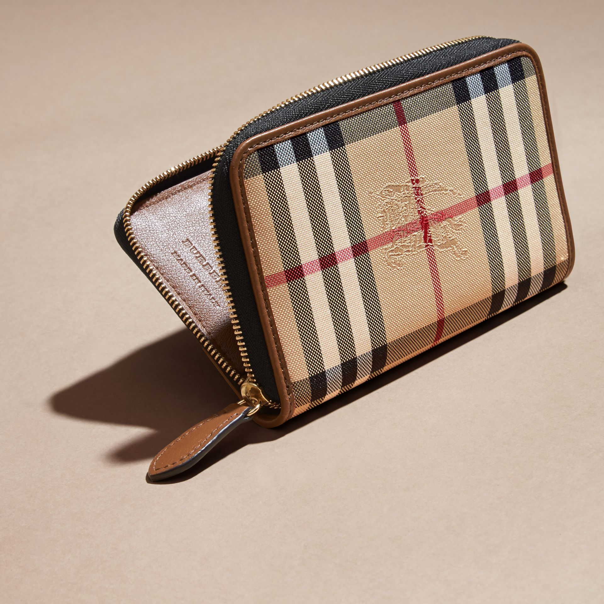 Horseferry Check and Leather Ziparound Wallet Tan - gallery image 4