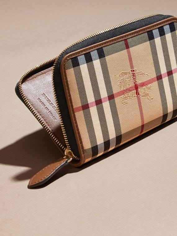 Horseferry Check and Leather Ziparound Wallet Tan - cell image 3