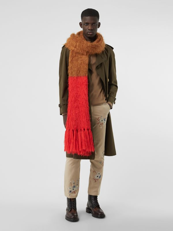 Colour Block Chunky Knit Mohair Silk Scarf in Sand - Women | Burberry - cell image 3