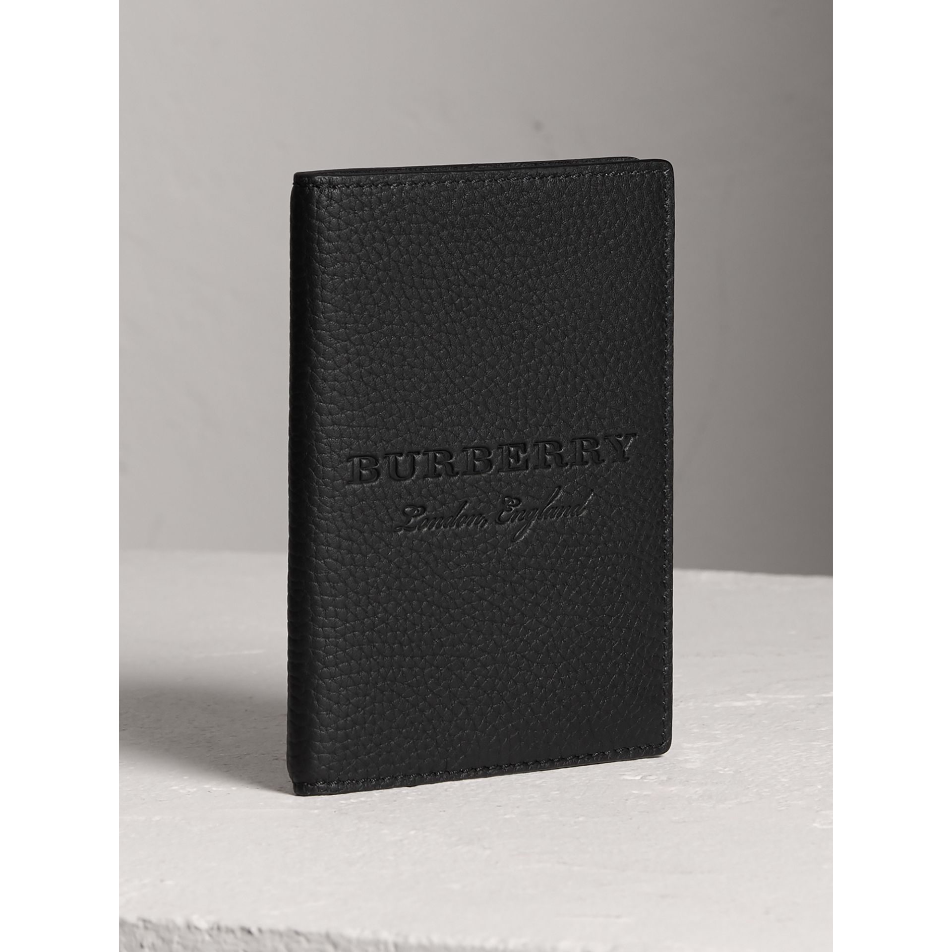 Embossed Leather Passport Holder in Black | Burberry - gallery image 4