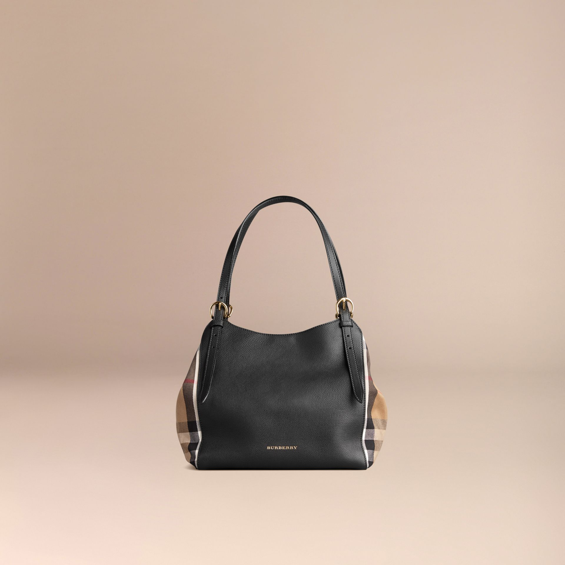 Petit sac The Canter en cuir avec motif House check Noir - photo de la galerie 7