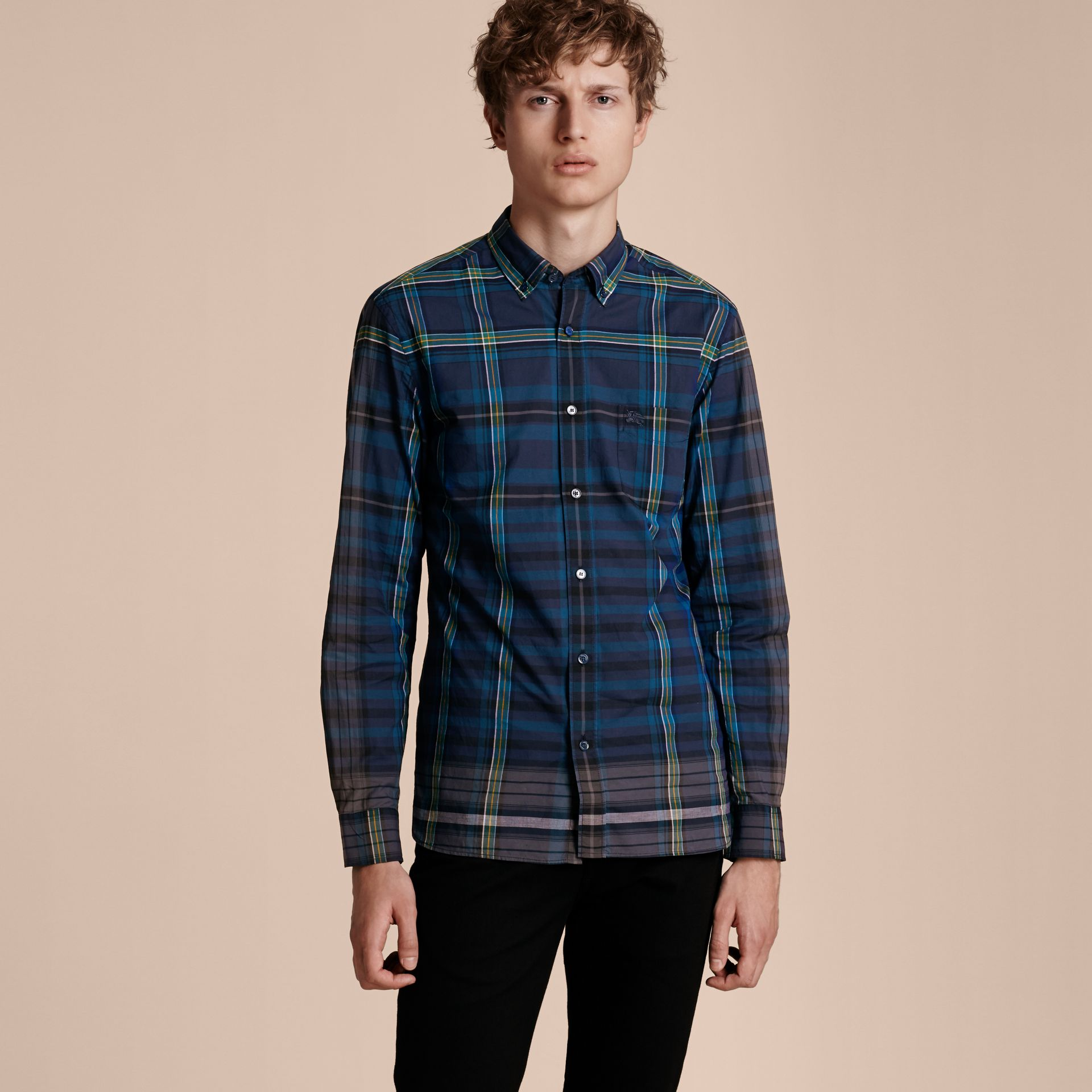 Indigo Button-down Collar Check Cotton Shirt Indigo - gallery image 6