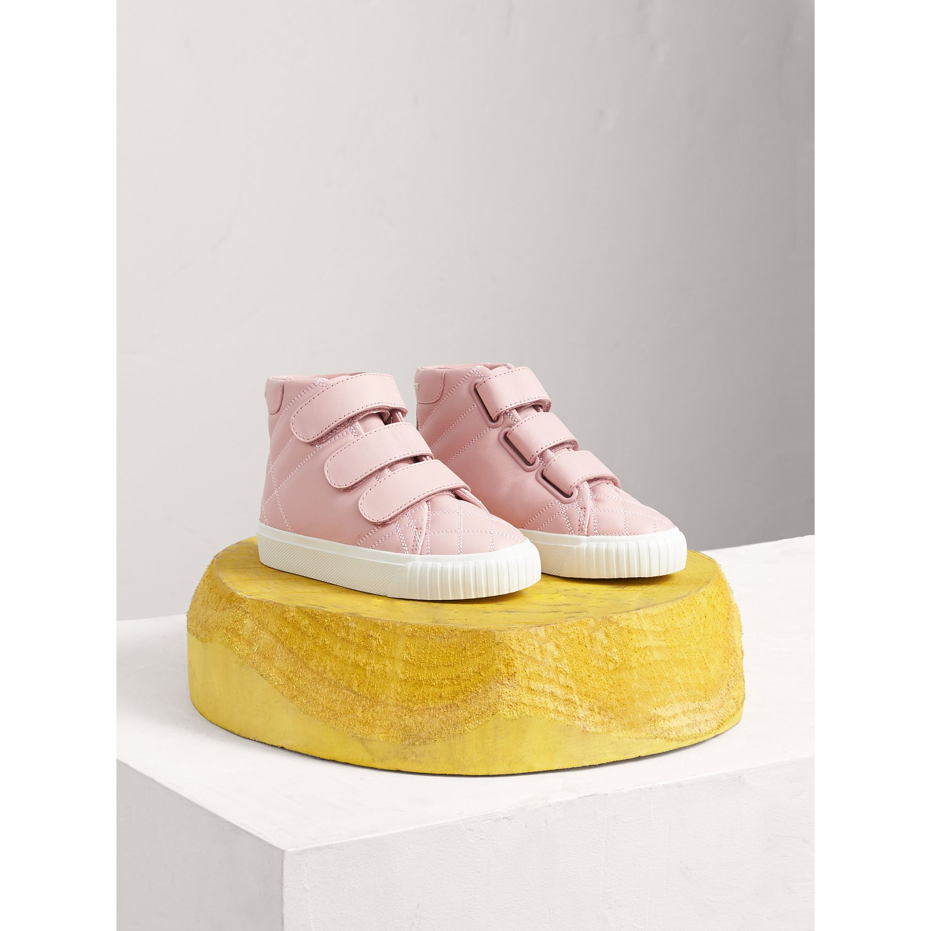 Check-quilted Leather High-top Sneakers in Light Pink Melange | Burberry Singapore - gallery image 0