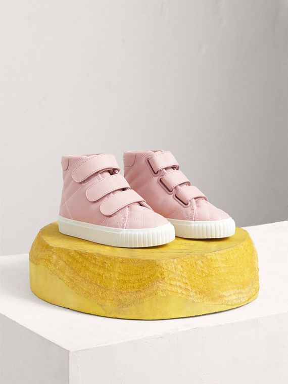 Quilted Leather High-top Trainers in Light Pink Melange