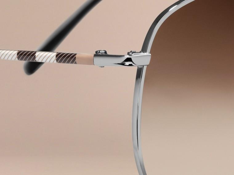 Nickel Check Arm Aviator Sunglasses Nickel - cell image 1