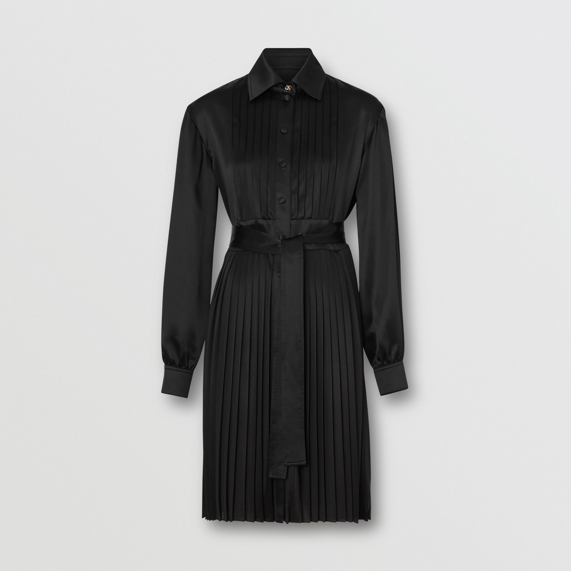 Pleated Silk Satin and Jersey Tie-waist Shirt Dress in Black - Women | Burberry United States - gallery image 3
