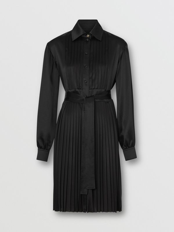 Pleated Silk Satin and Jersey Tie-waist Shirt Dress in Black - Women | Burberry United States - cell image 3