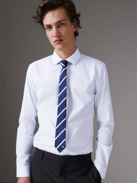 Slim Fit Striped Dobby Cotton Shirt in Light Blue - Men | Burberry Hong Kong - cell image 3