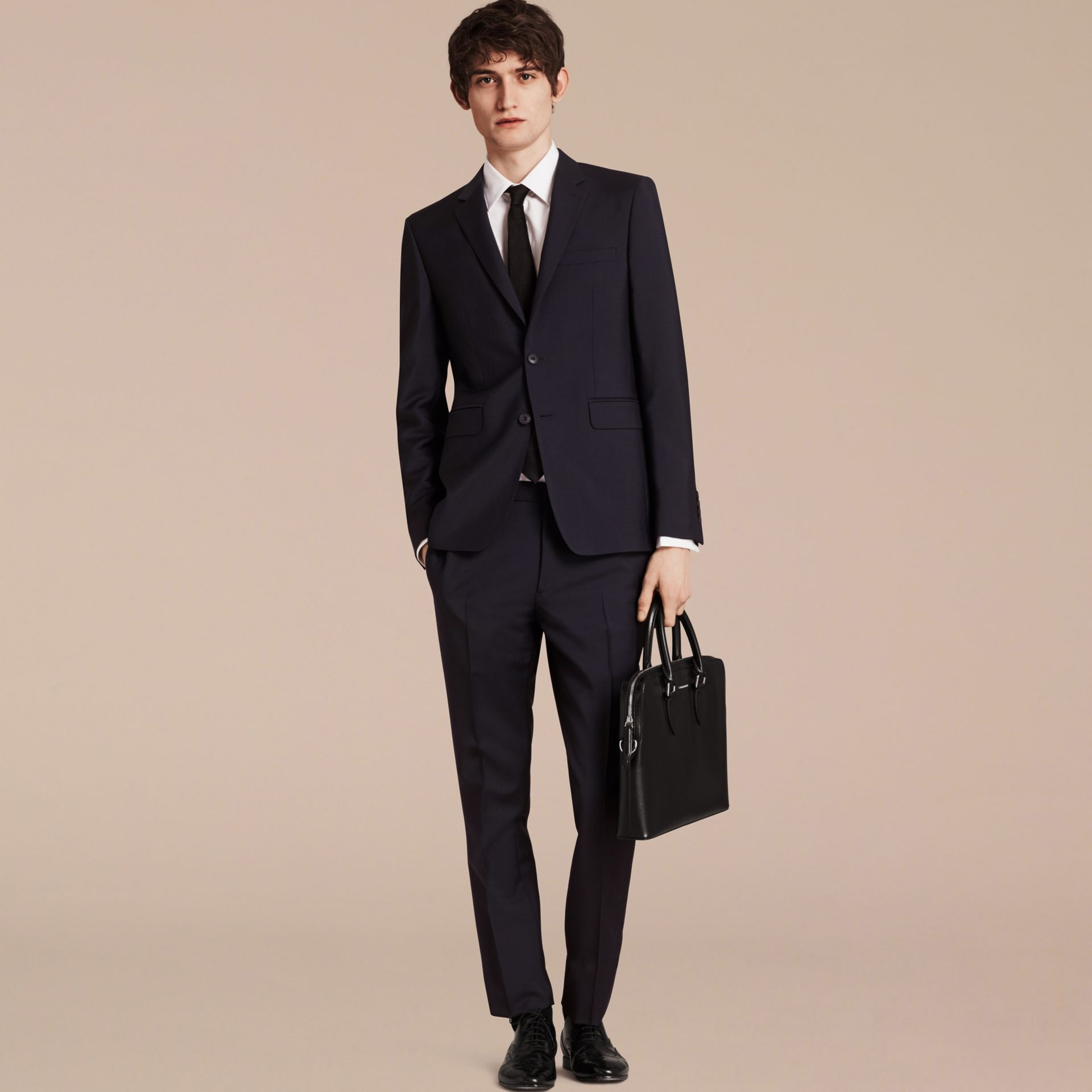 Slim Fit Wool Mohair Part-canvas Suit in True Navy - Men | Burberry - gallery image 2