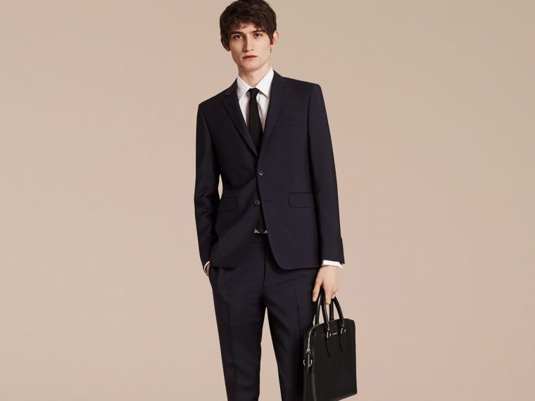 Slim Fit Wool Mohair Part-canvas Suit in True Navy - cell image 1