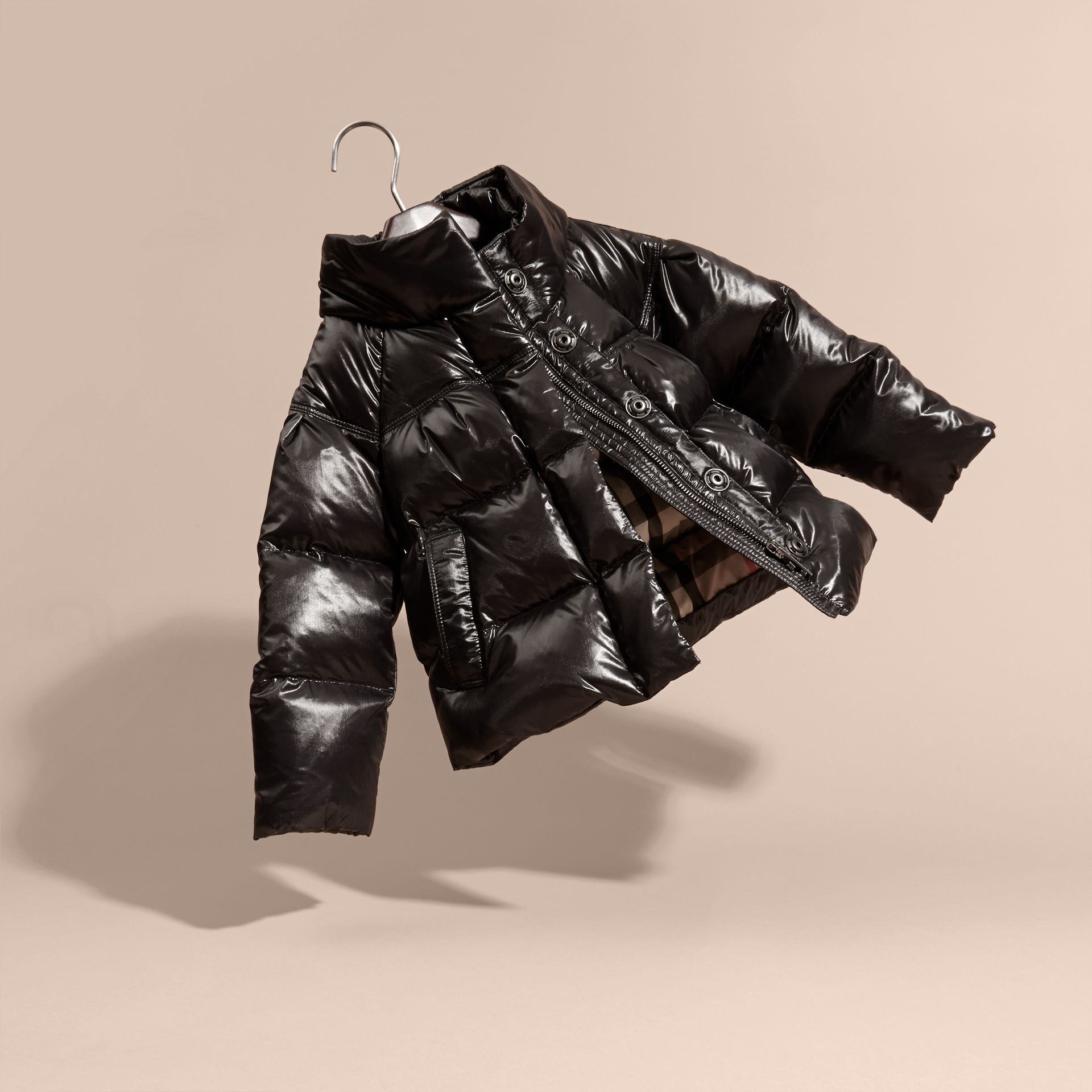 Black High-shine Down-filled Puffer Coat - gallery image 3