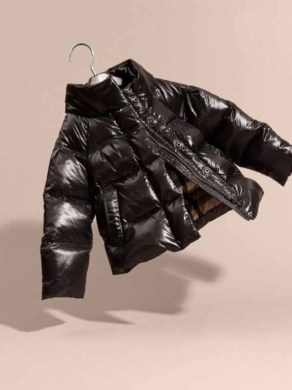 Black High-shine Down-filled Puffer Coat - cell image 2
