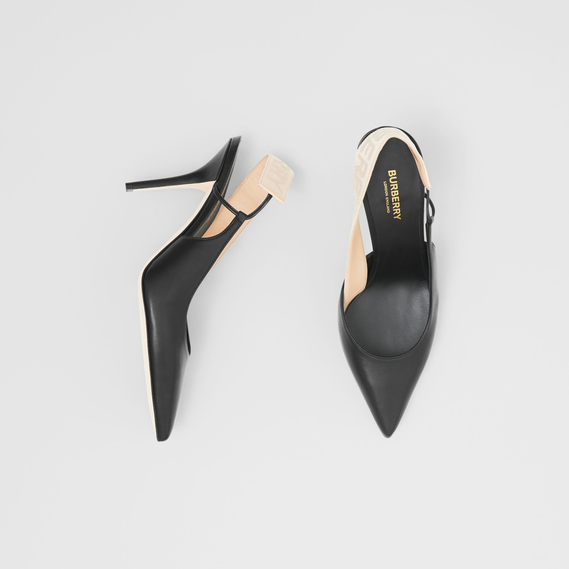 Logo Detail Lambskin Slingback Pumps in Black - Women | Burberry Australia - gallery image 0
