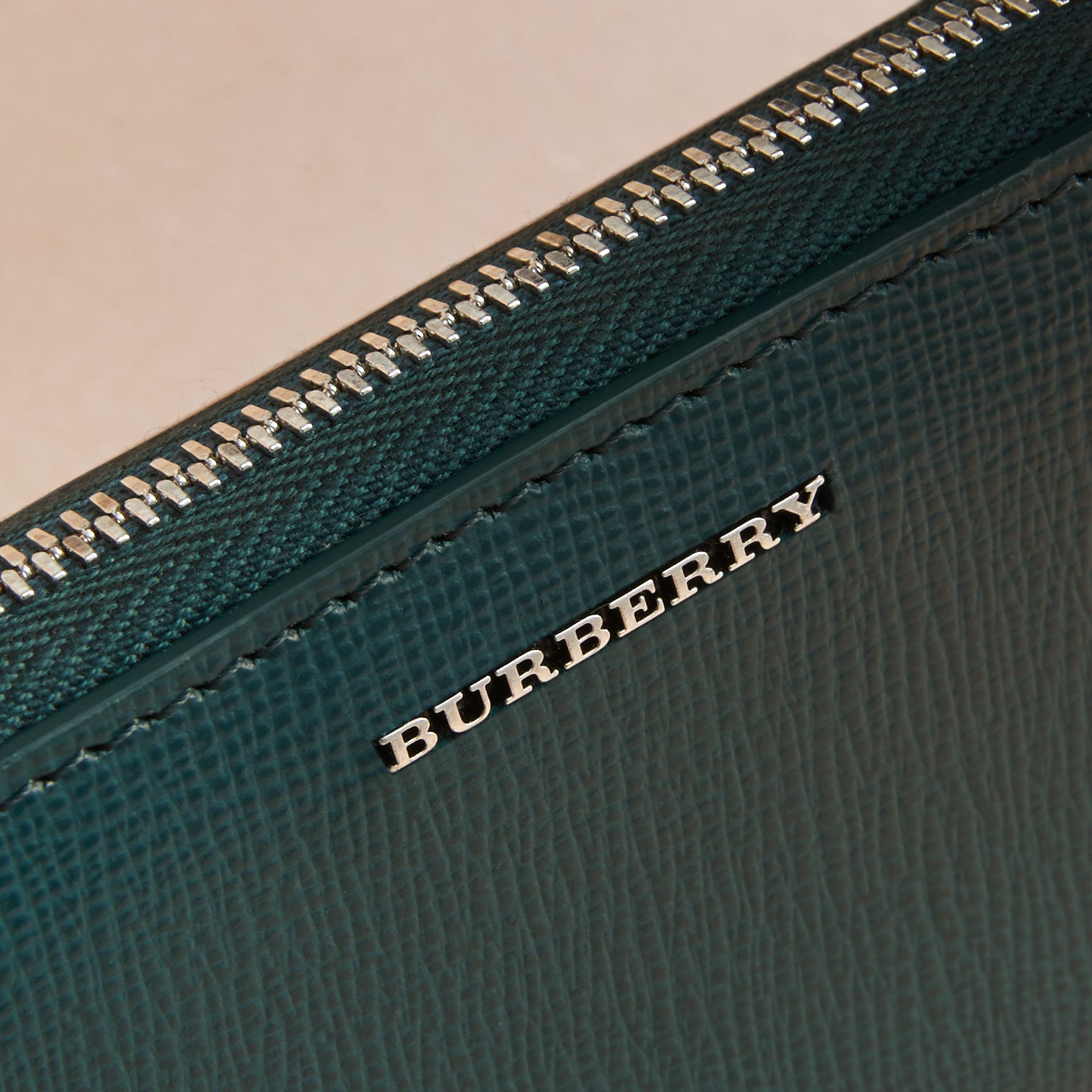 London Leather Ziparound Coin Case in Dark Teal | Burberry - gallery image 2