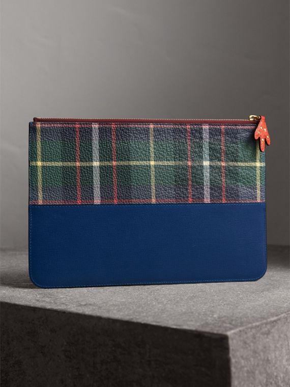 Creature Appliqué Leather Pouch in Deep Blue - Men | Burberry Australia - cell image 2