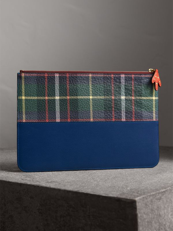 Creature Appliqué Leather Pouch in Deep Blue - Men | Burberry - cell image 2