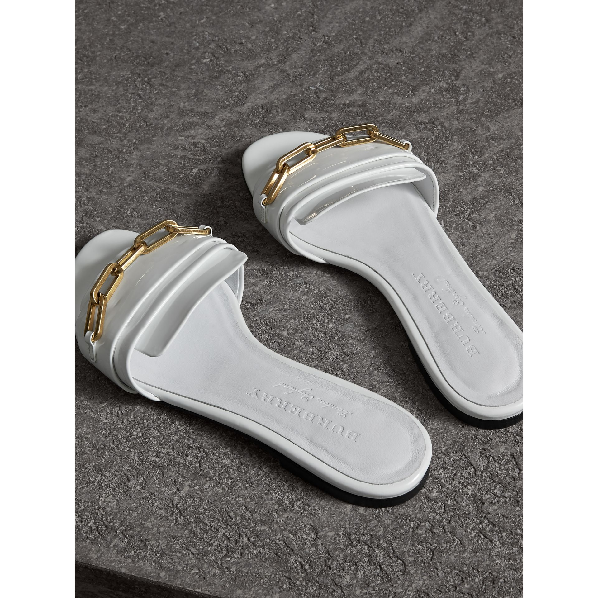 Link Detail Patent Leather Slides in Optic White - Women | Burberry United Kingdom - gallery image 3