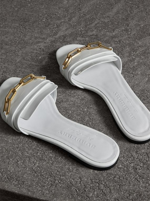 Link Detail Patent Leather Slides in Optic White - Women | Burberry Canada - cell image 3