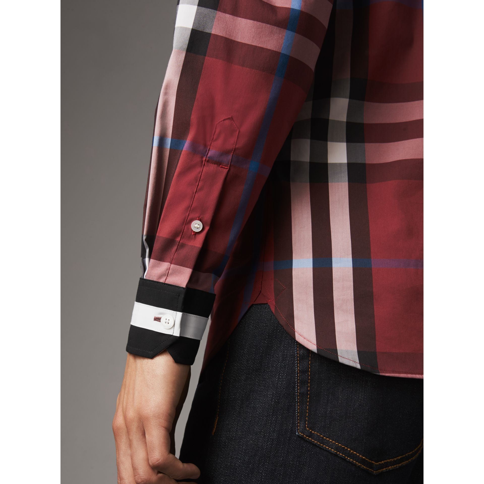 Striped Cuff Check Cotton Blend Shirt in Crimson Red - Men | Burberry Australia - gallery image 1