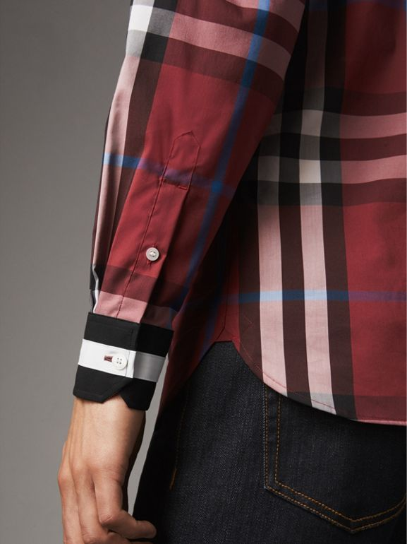 Striped Cuff Check Cotton Blend Shirt in Crimson Red - Men | Burberry - cell image 1