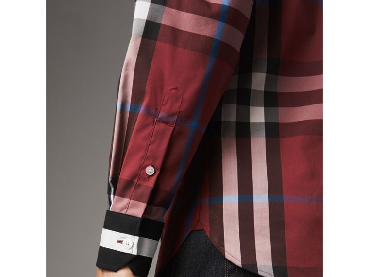 Striped Cuff Check Cotton Blend Shirt in Crimson Red - Men | Burberry Australia - cell image 1
