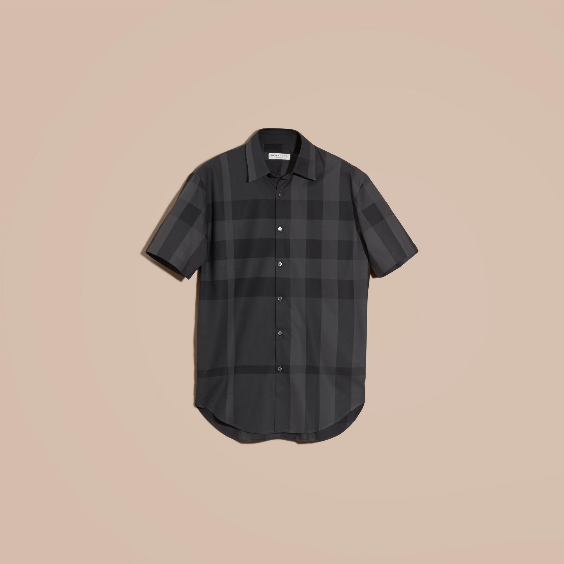 Gris marengo Camisa de manga corta en algodón con estampado de checks Gris Marengo - imagen de la galería 4