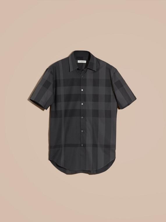 Charcoal Camisa de algodão com estampa xadrez e mangas curtas Charcoal - cell image 3