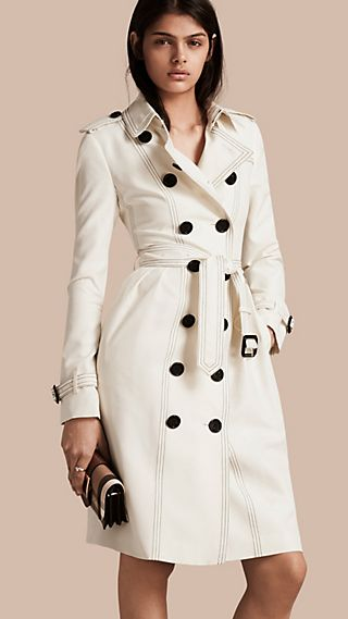 Silk Trench Coat with Topstitch Detail