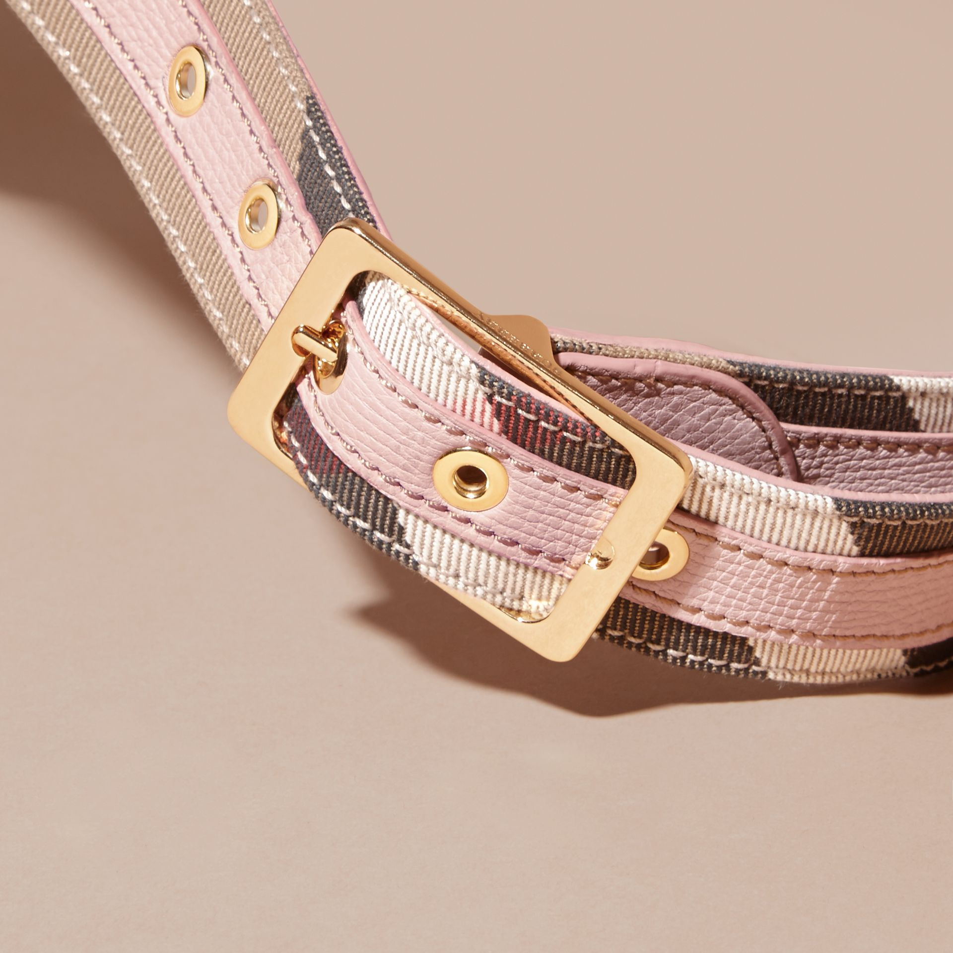 House Check and Grainy Leather Belt in Camel/pale Orchid - Women | Burberry - gallery image 2