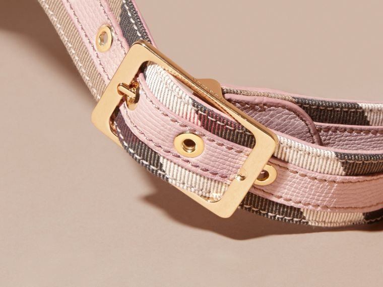 House Check and Grainy Leather Belt in Camel/pale Orchid - Women | Burberry Singapore - cell image 1