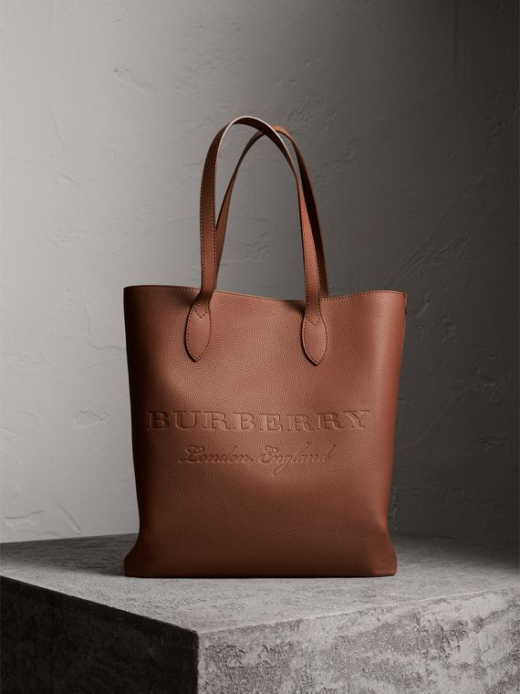 Medium Embossed Leather Tote Bag in Chestnut Brown