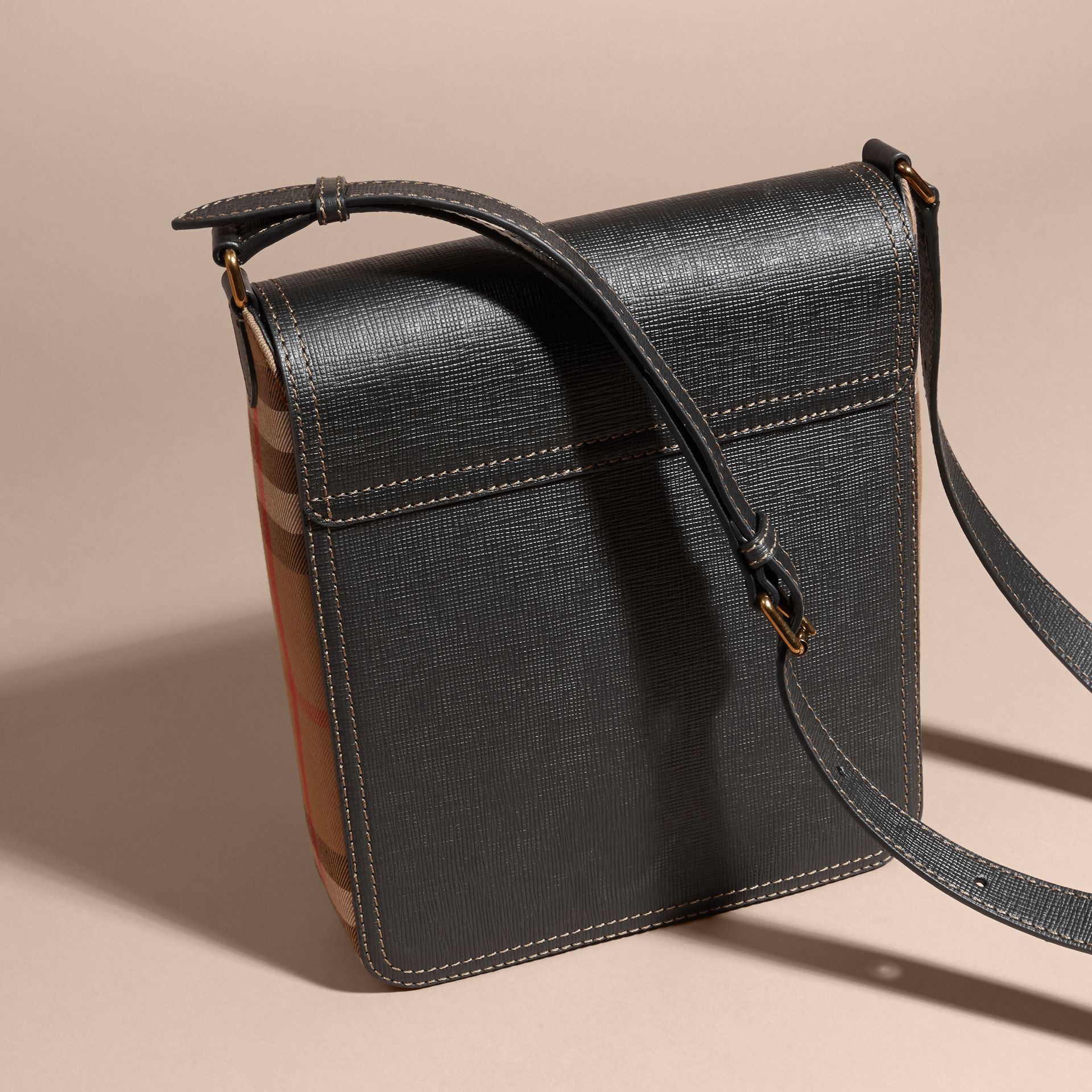 Black The Medium Satchel in Textural Leather and House Check - gallery image 5