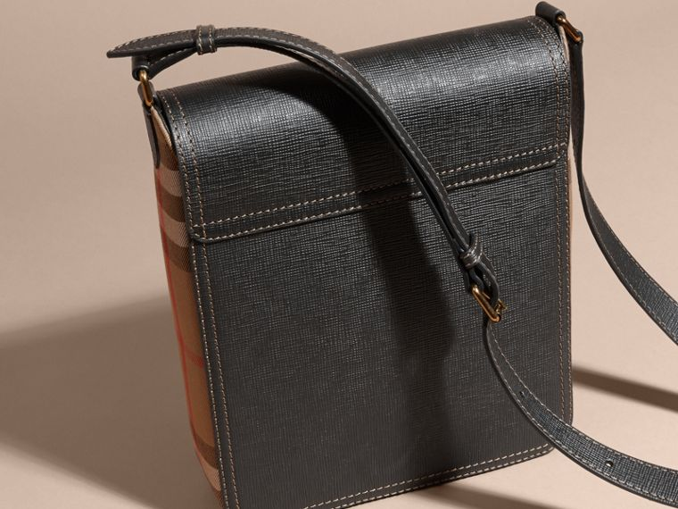 Black The Medium Satchel in Textural Leather and House Check - cell image 4