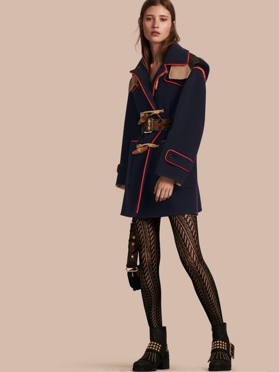 Duffle-coat en laine mélangée double face