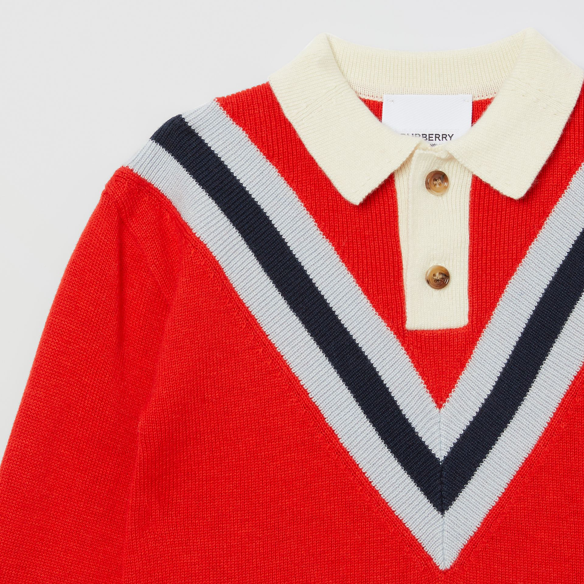 Long-sleeve Knit Cashmere Cotton Polo Shirt in Bright Red - Children | Burberry United Kingdom - gallery image 3