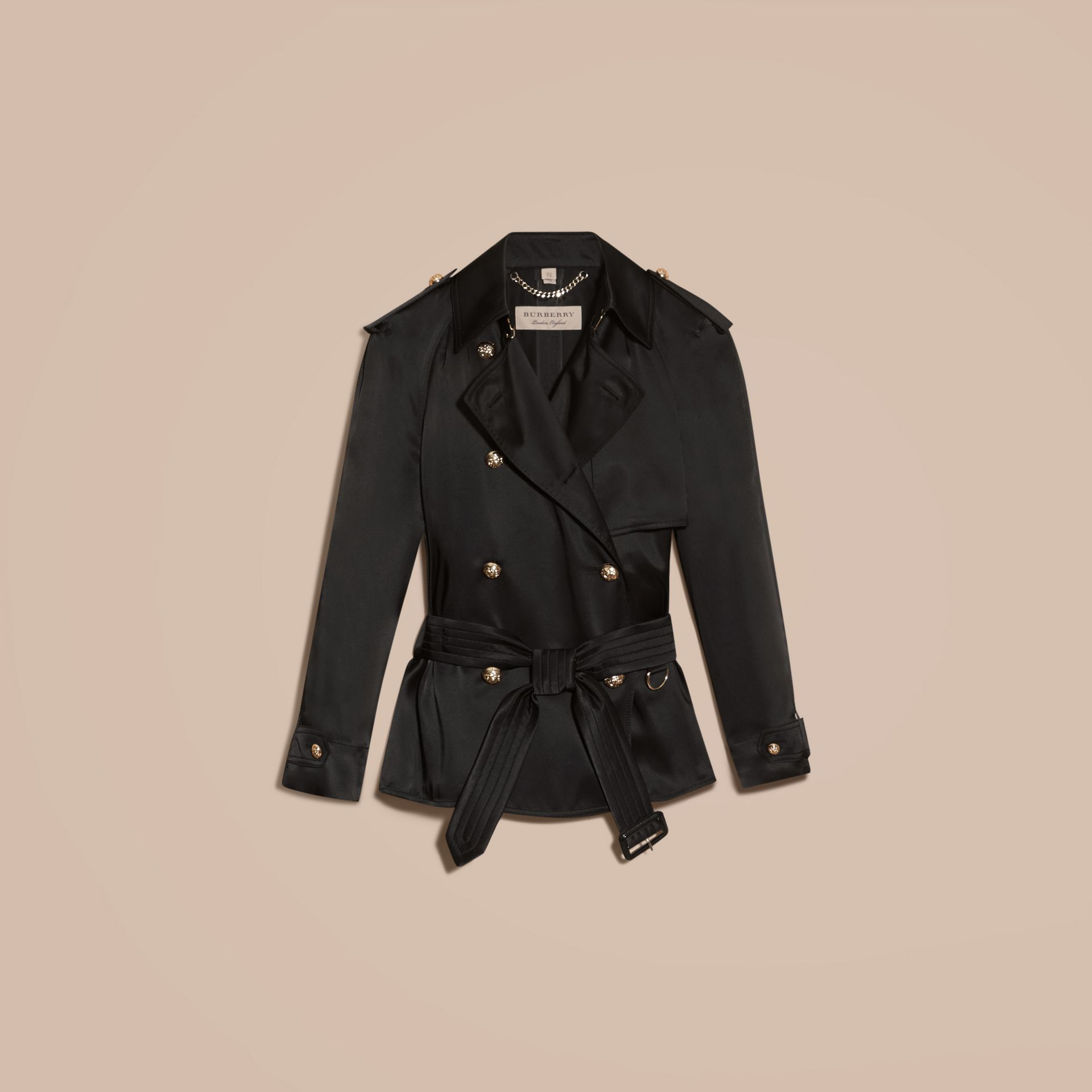 Black Oversized Regimental Silk Trench Jacket - gallery image 4
