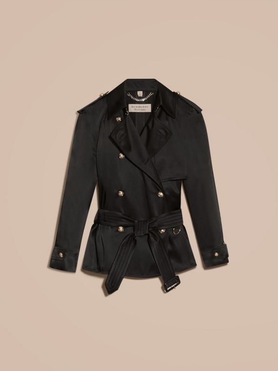 Oversized Regimental Silk Trench Jacket - cell image 3