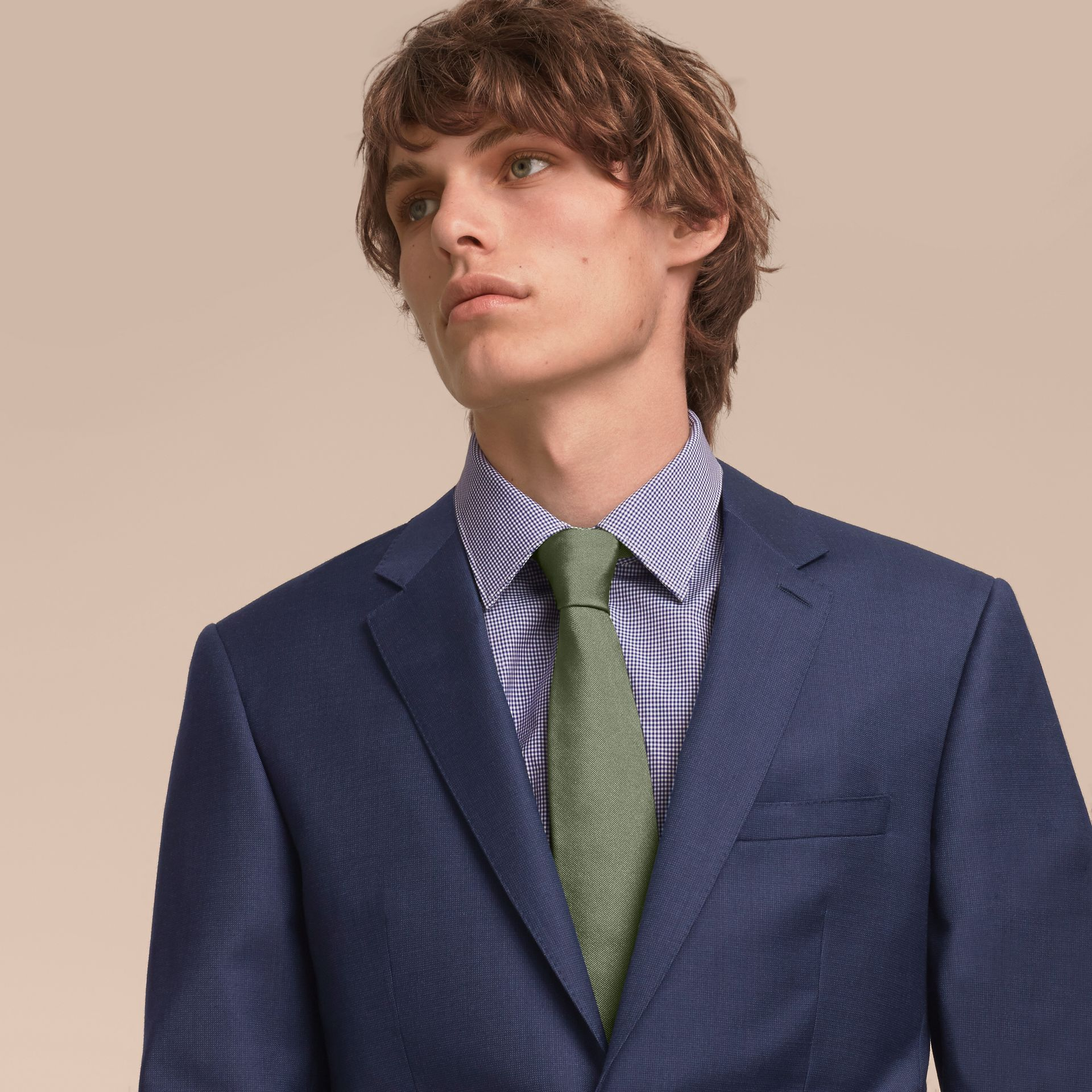 Modern Cut Silk Twill Tie in Eucalyptus Green - Men | Burberry - gallery image 3