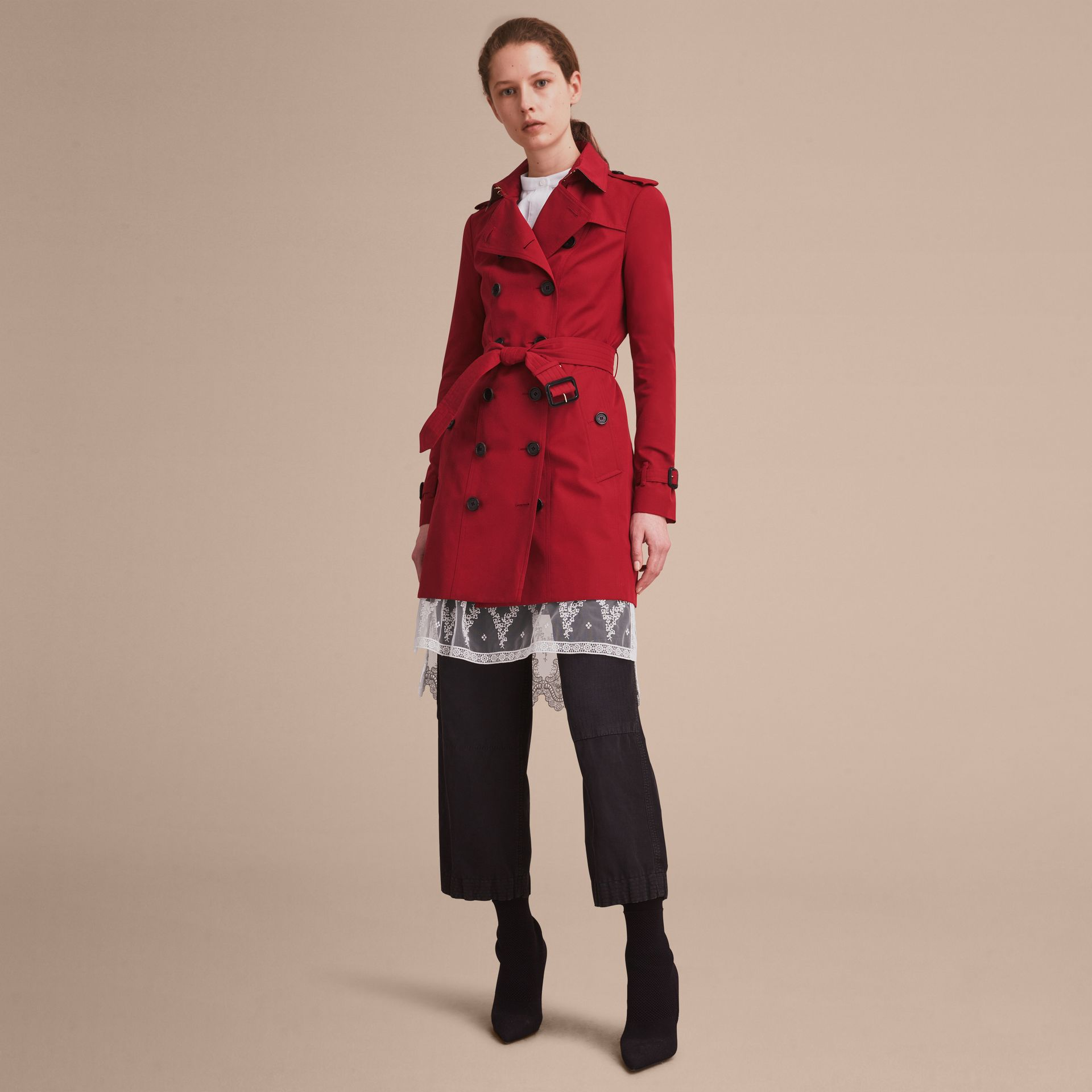 The Sandringham – Mid-length Heritage Trench Coat Parade Red - gallery image 7