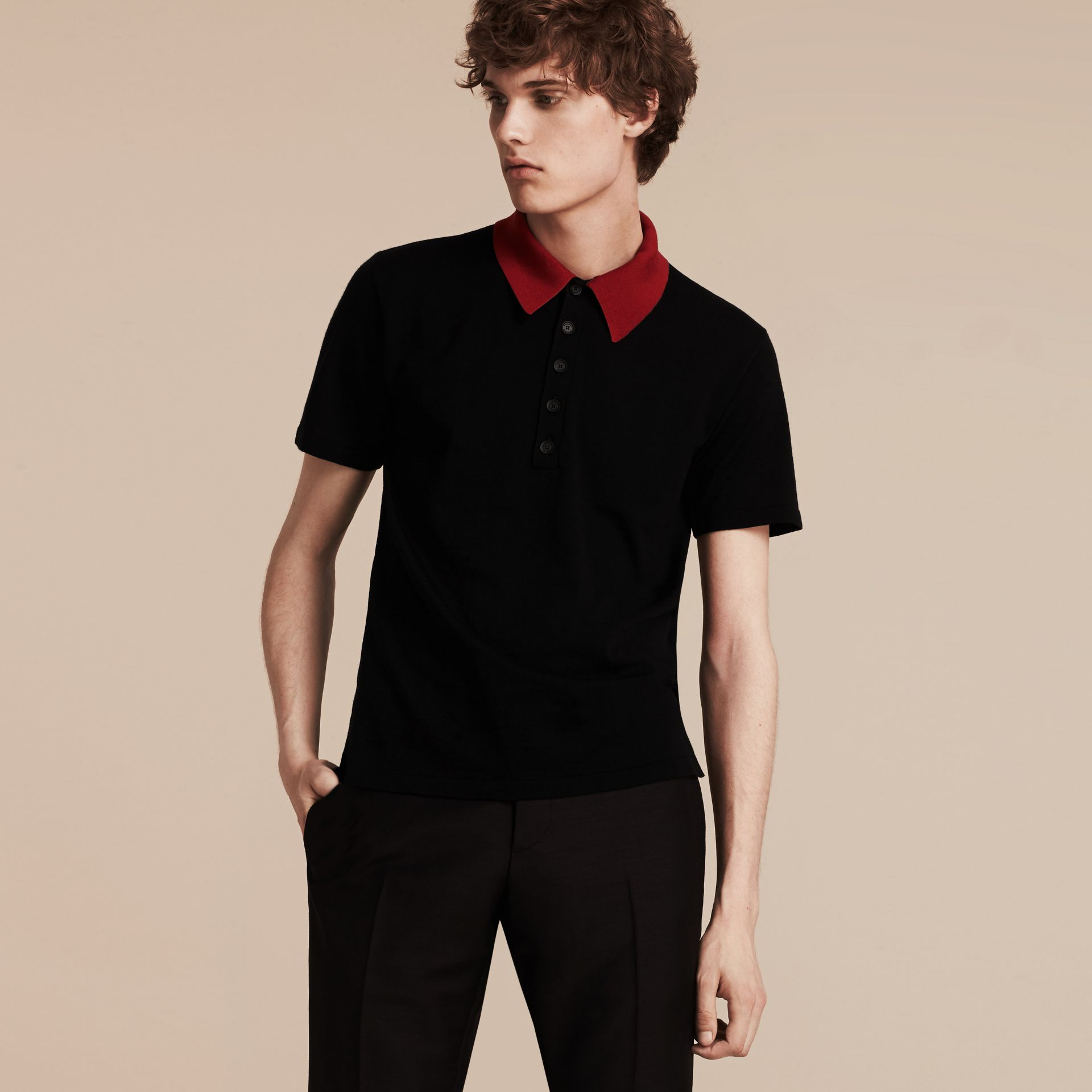 Black/cranberry red Contrast Collar Wool Blend Polo Shirt - gallery image 5