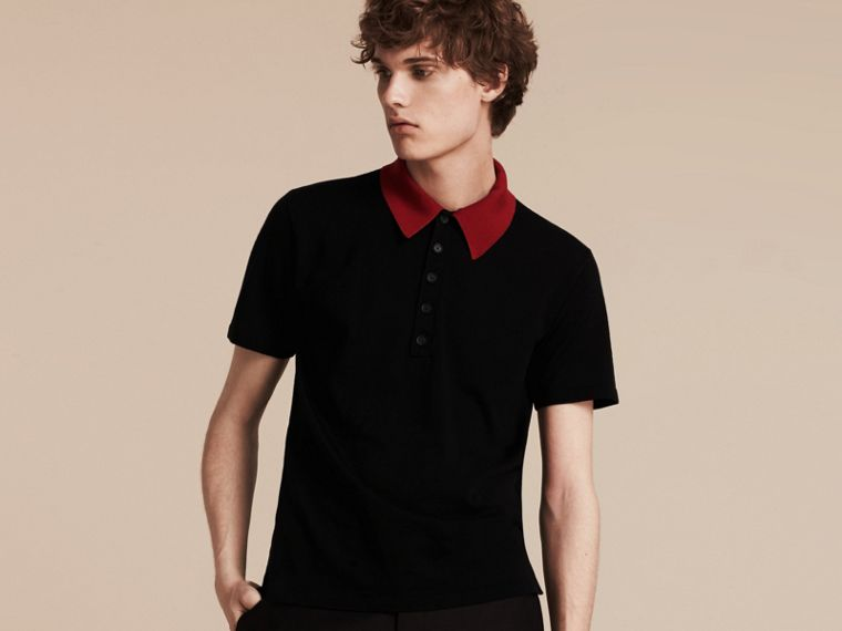 Black/cranberry red Contrast Collar Wool Blend Polo Shirt - cell image 4