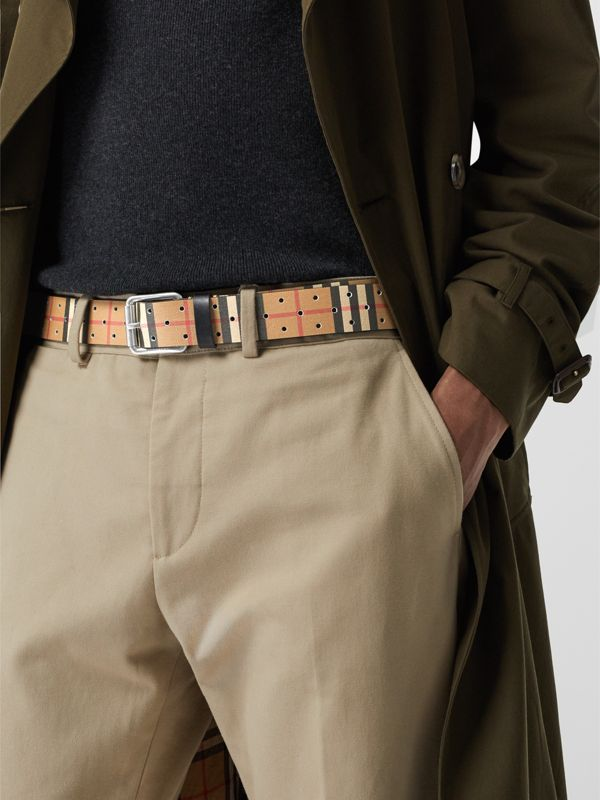 Perforated VIntage Check Leather Belt in Antique Yellow - Men | Burberry Australia - cell image 2