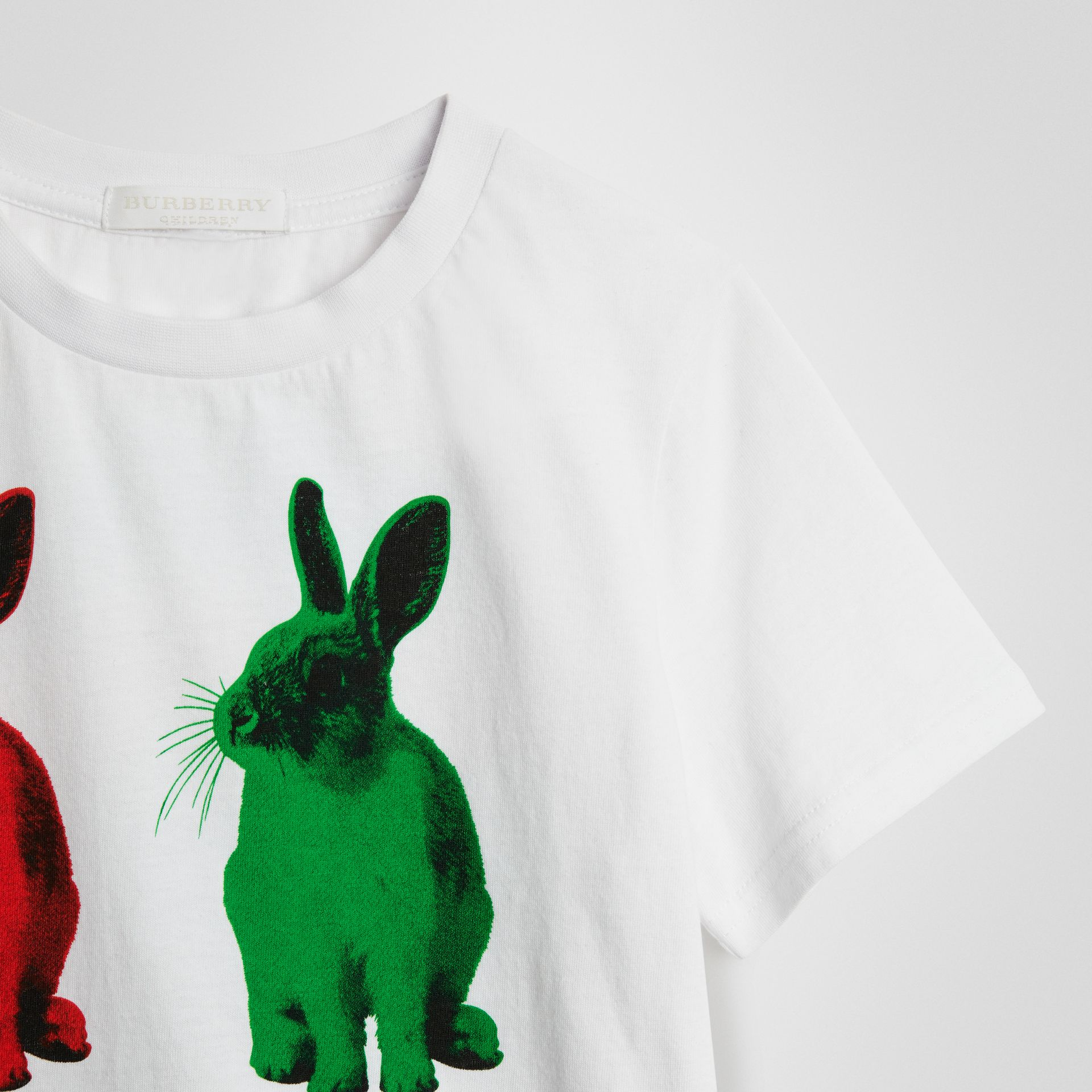 Rabbit Print Cotton T-shirt in White | Burberry - gallery image 4